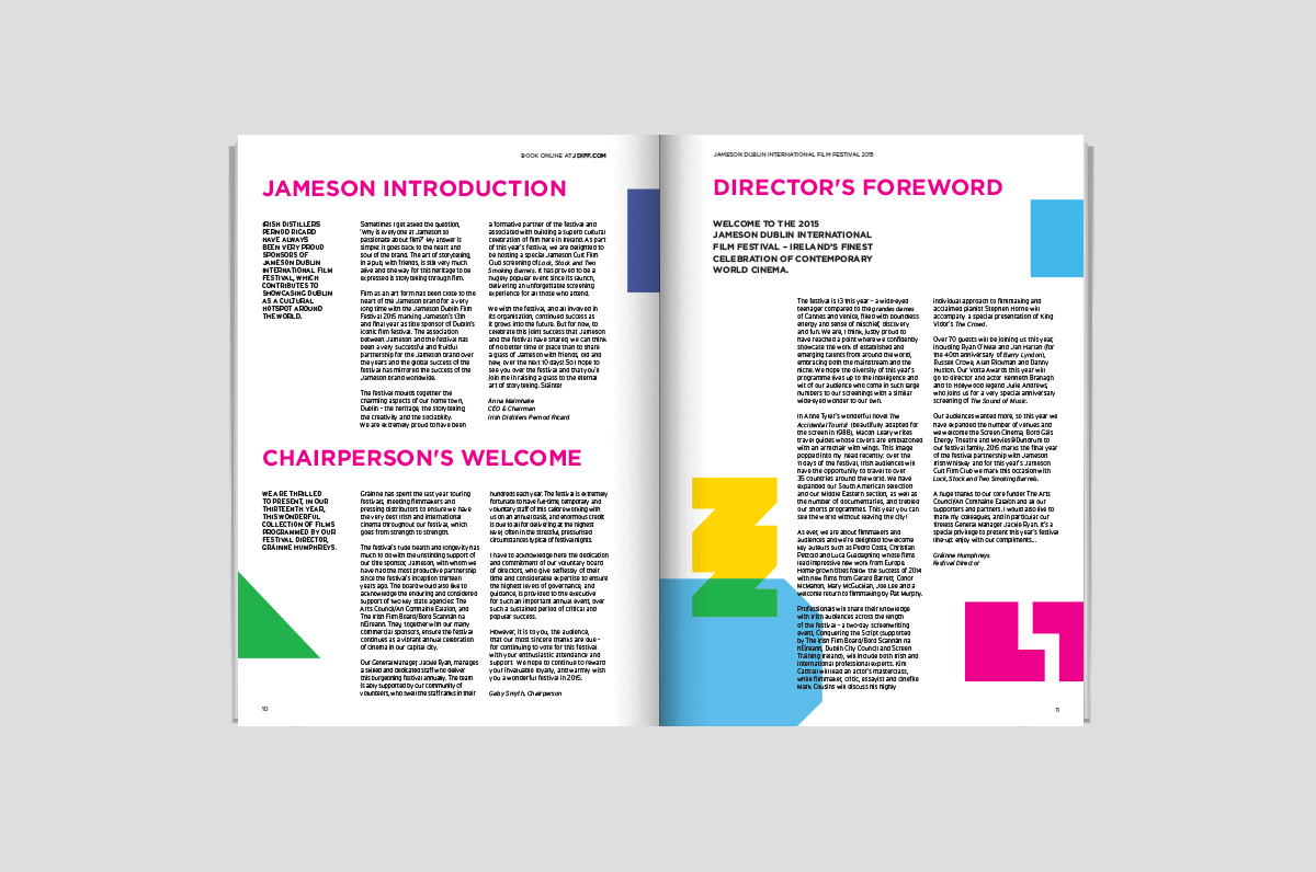 A typographic and graphic spread from the dublin international film festival brochure by design agency design factory