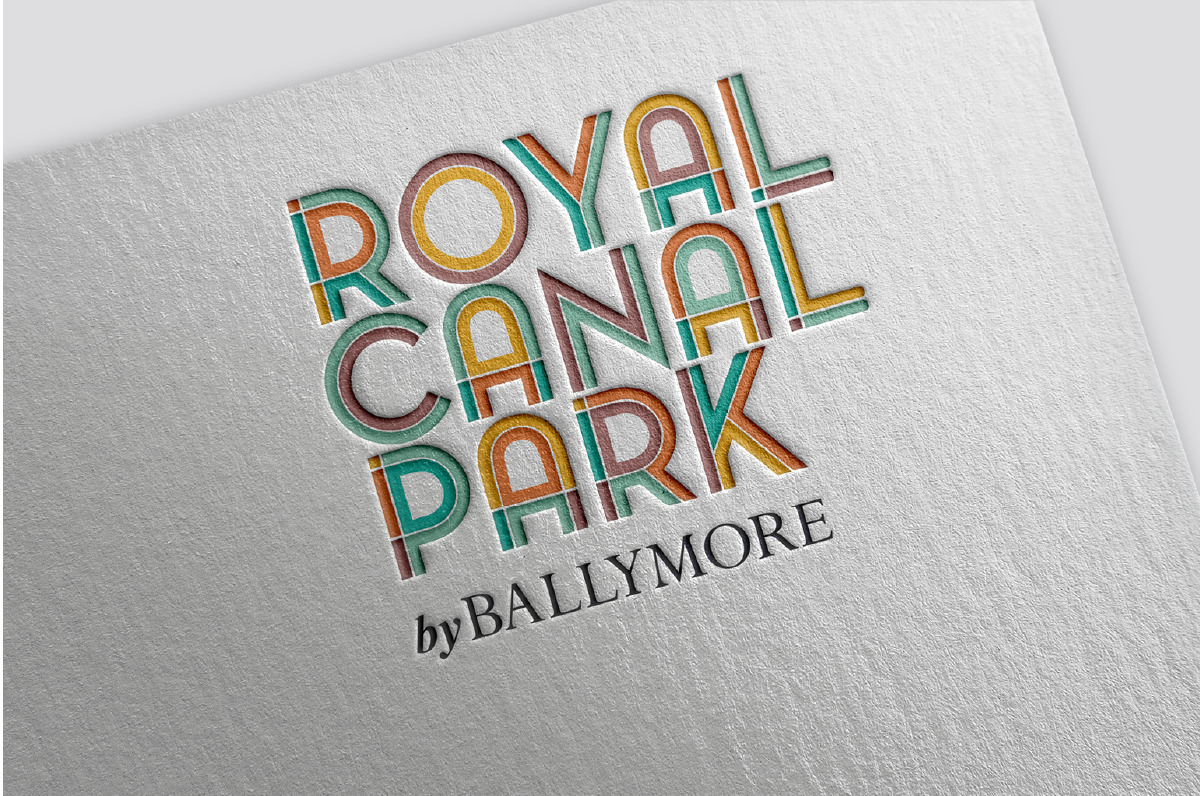 Royal canal park logo, debossed. This was created by the creative graphic design studio Design Factory. A design agency based in Dublin, Ireland.