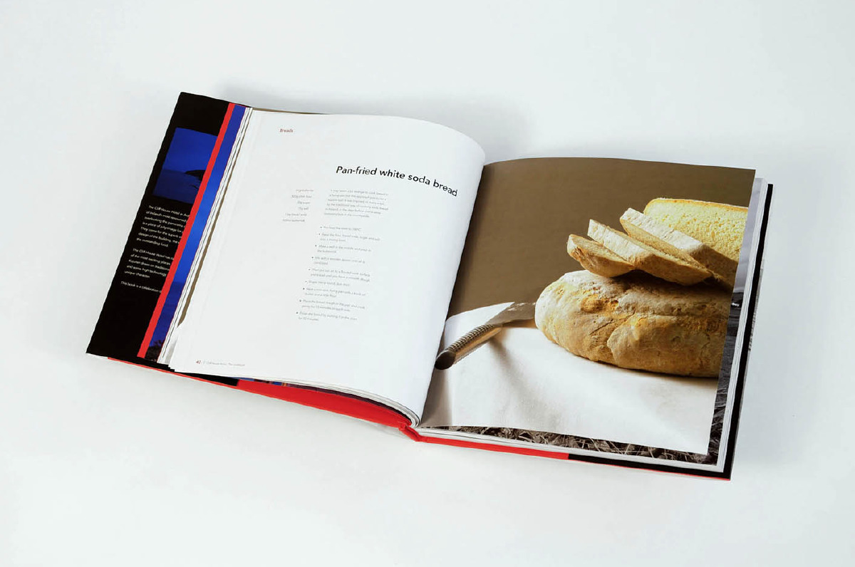 Typography is paired with food typography to increase the allure of the cookbook.