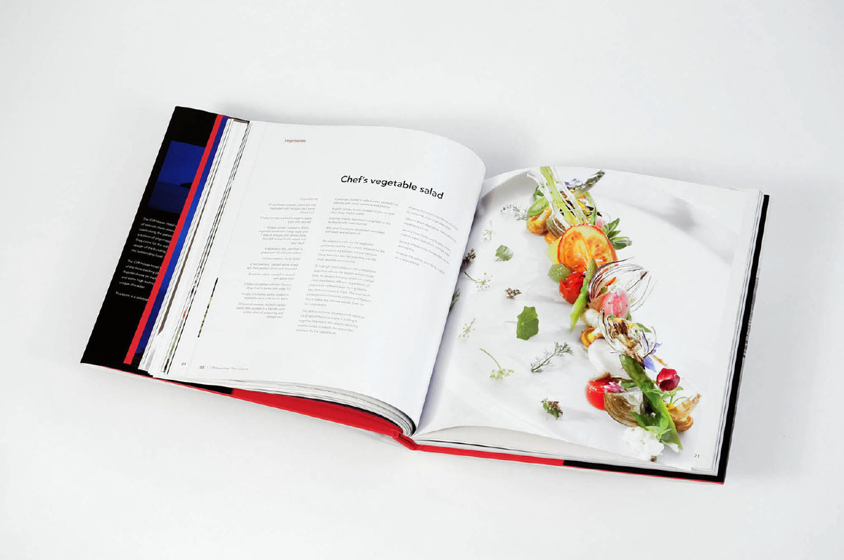 Food photography is used to highlight the richness of the recipe.