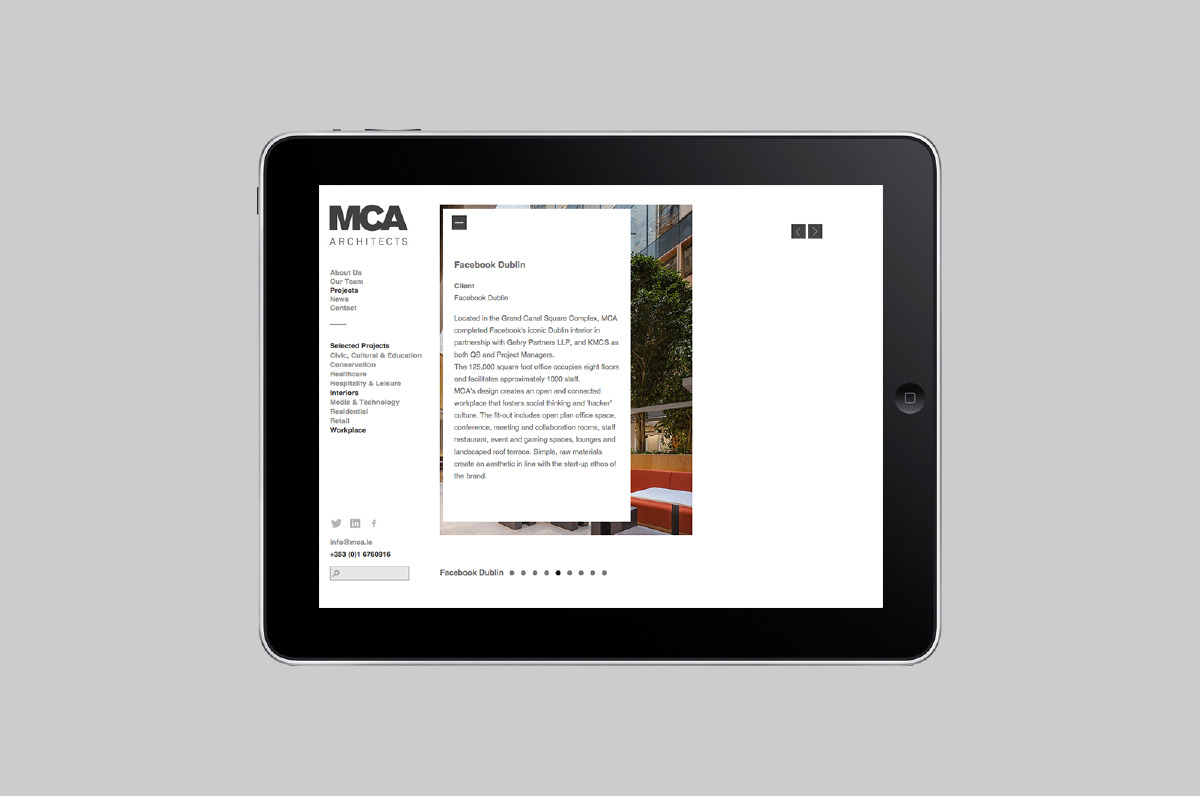 Web design page from the MCA Architect identity
