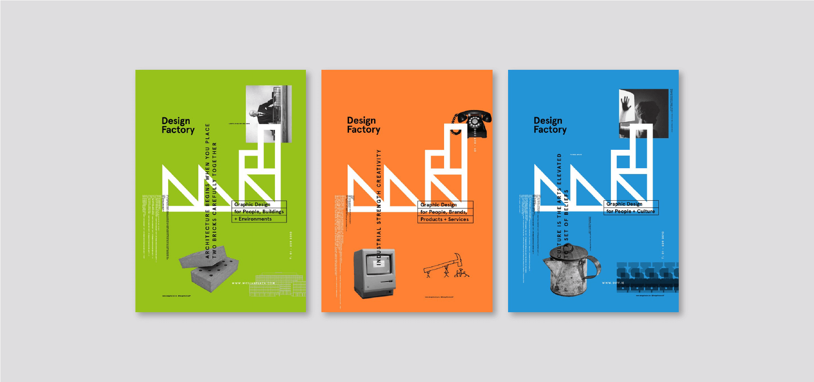 A poster series designed to highlight the Design Factory branding