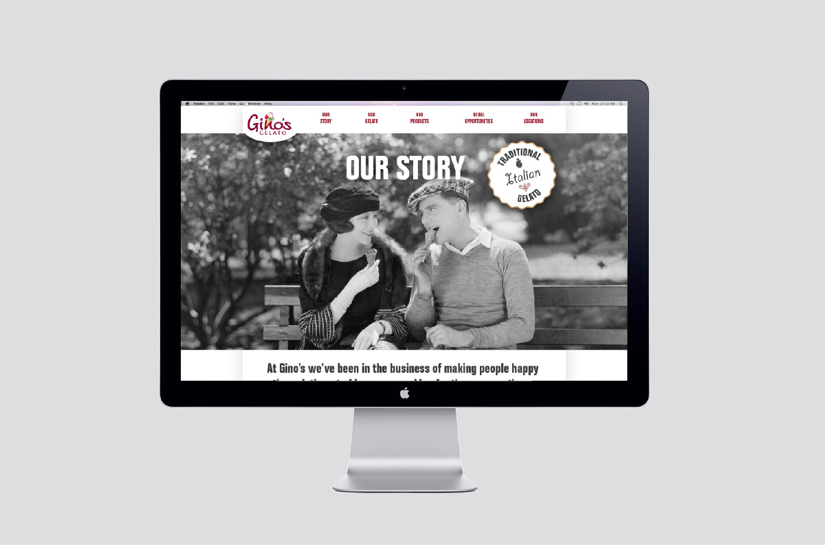 Layout from the website designed for Gino's Gelato.