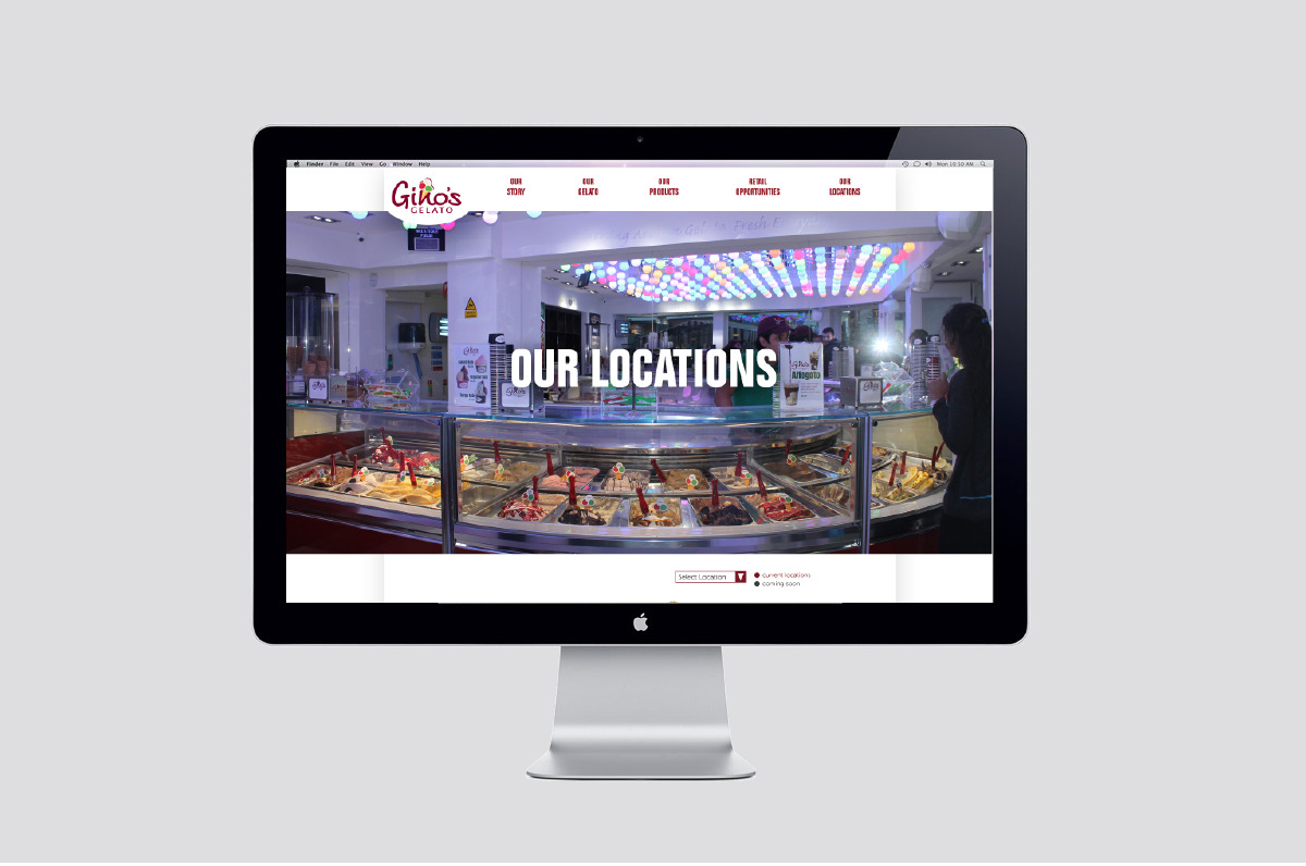 Web page layout showing the ux of gino's gelato.
