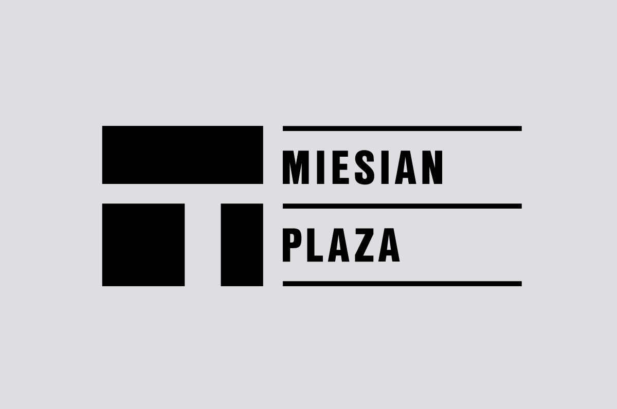 Logo aspect of the Miesian Plaza identity