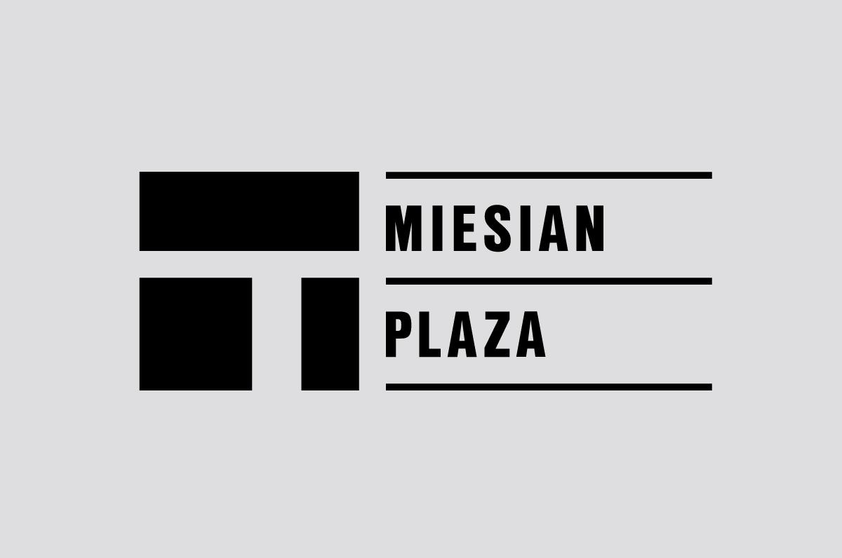 Logo aspect of the Miesian Plaza identity