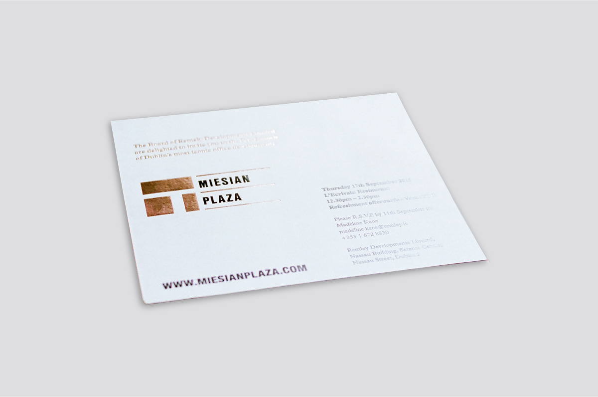 Metallic foil invite using the brand identity