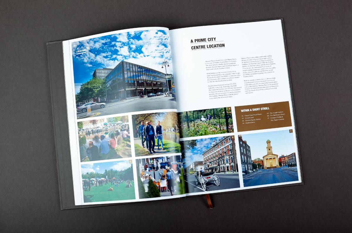 Spread within Meisian Plaza brochure using the created brand identity
