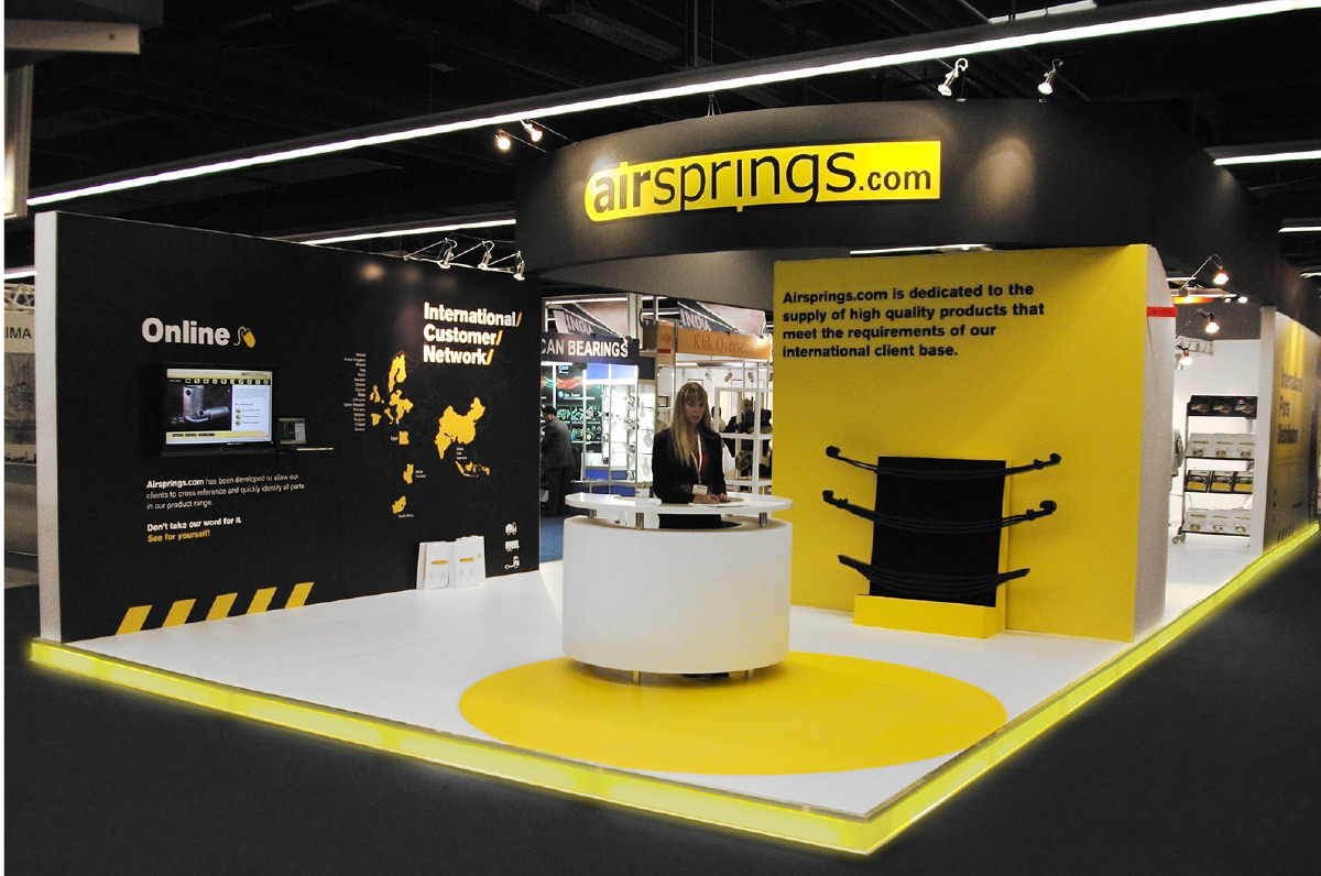 An alternate view of the display stand created for Airsprings to highlight their corporate visual identity.