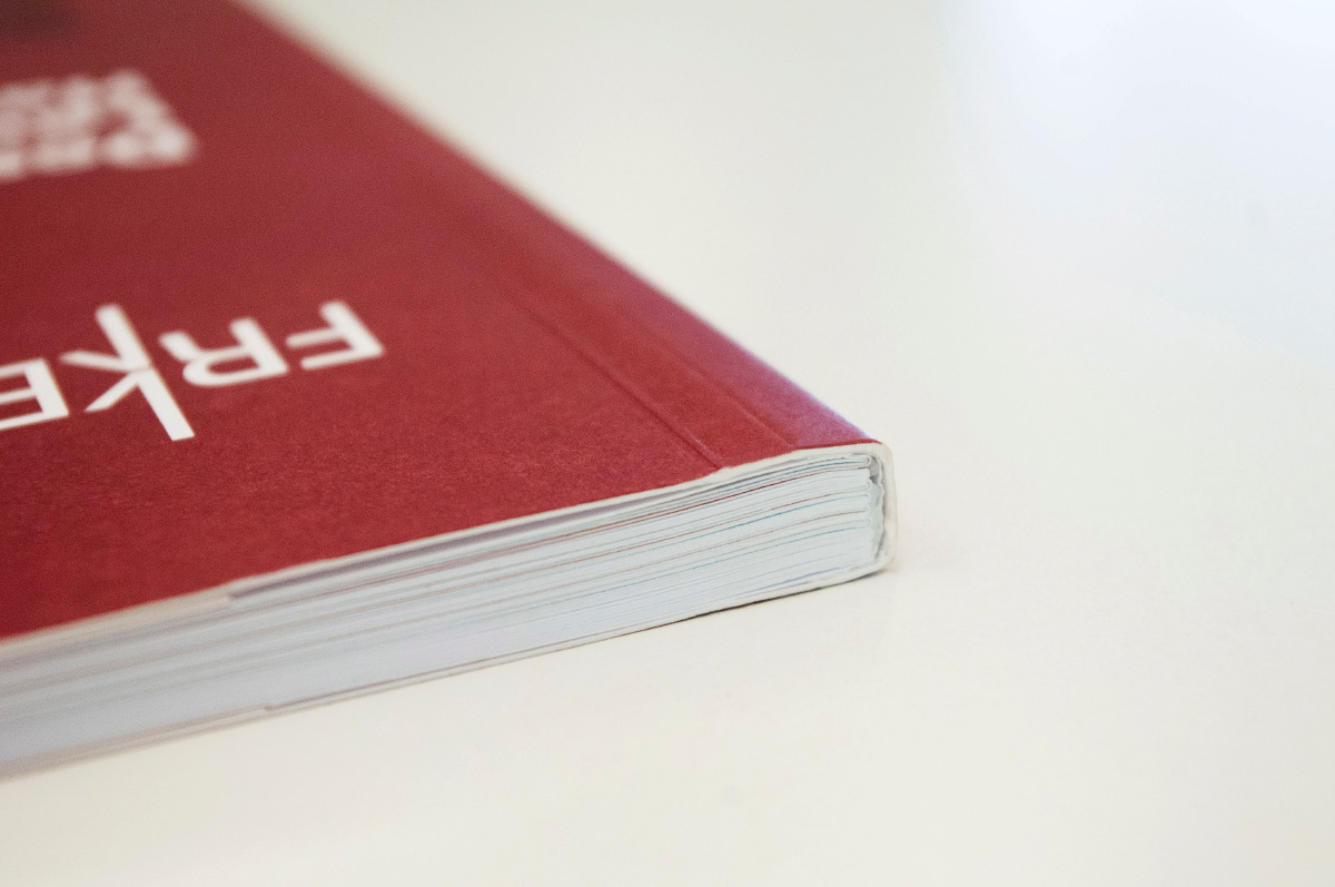 Close up view of the spine when it is closed on the Design Law Handbook