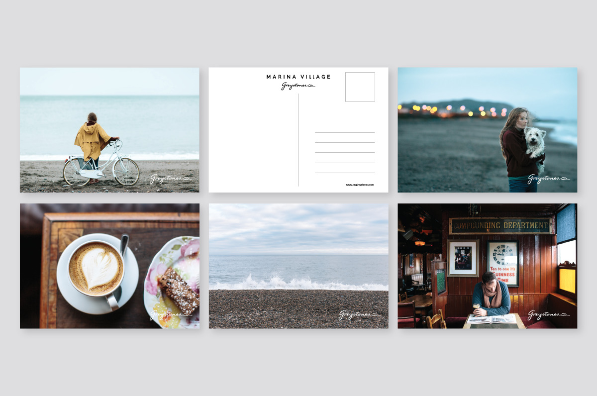 Postcard designs using photography as the main identity