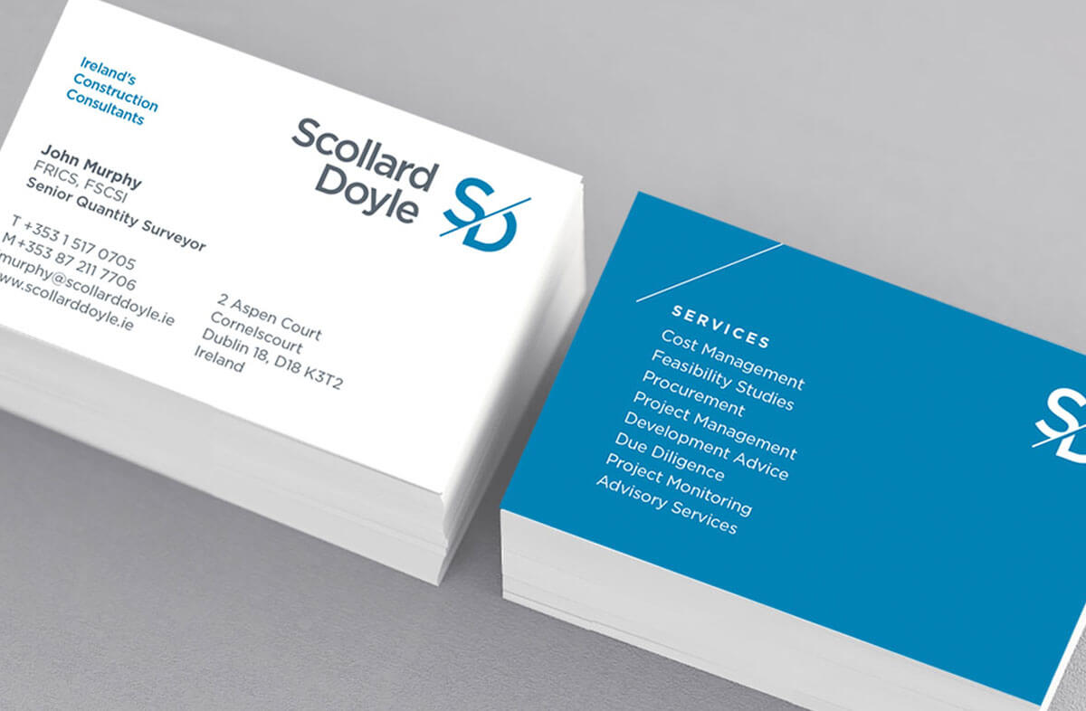 Scollard Doyle business cards by Dublin based Design Factory. This was created by the creative graphic design studio Design Factory. A design agency based in Dublin, Ireland.